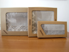 polish linen tablecloths in paper box